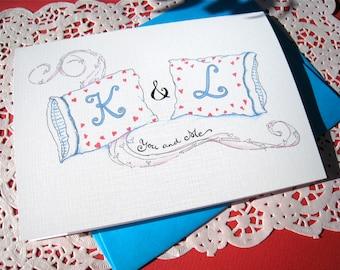 Personalized Anniversary Card - Custom Anniversary Card - Wedding Card - Calligraphy Monogram Pillows