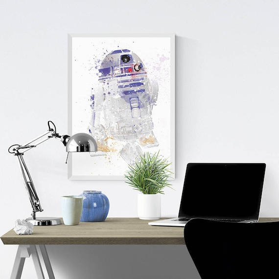 Star Wars Poster Print R2 D2 Watercolour Painting Digital