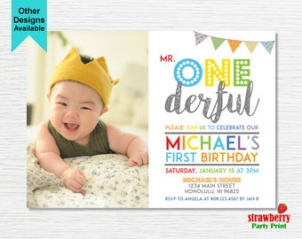 1st birthday invitations boy etsy mr onederful invitation boy first birthday invitation photo invitation 1st birthday customize printable invitation a27 filmwisefo