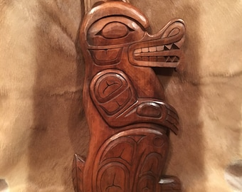 Hand Carved Wooden Wolf in the Tlingit Style