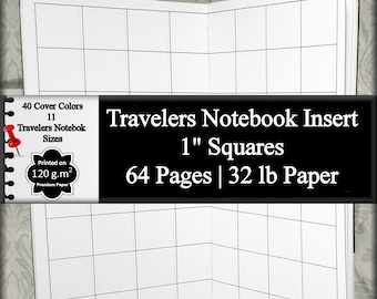 "Travelers Notebook Insert 1"" Graph Paper DIY Plan Bullet Journal To Do List Planner Insert Blank Journal Notebook Bullet List Daily Planner"