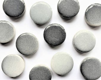 Gray Penny Tile Fridge Magnets in Decorative Tin | Super Strong | Set of 8 | Grey Magnets | Gray Marble Magnets | Decorative Magnets