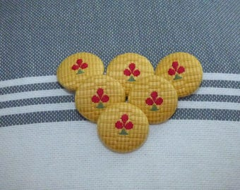 SET OF 6 COTTON BUTTONS HAS STRIPES OF COLOR YELLOW AND OCHRE