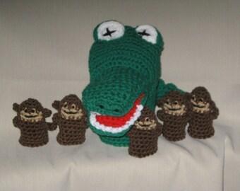 Five Little Monkeys and Mr. Alligator Hand/ Finger Puppet Set
