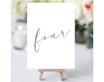 SIMPLE CALLIGRAPHY Printable Table Number, minimalist Table Number, Wedding Table Numbers, Wedding Table Cards, Number Cards