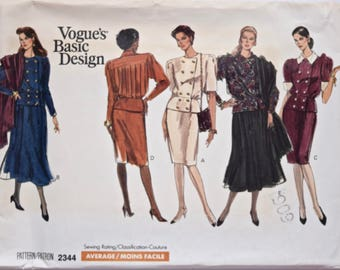 Vintage 1980's Vogue 2344 Sewing Pattern Misses' Double Breasted Top Peplum Straight and A-Line Skirt Vogue's Basic Design UNCUT Sz 12-14-16