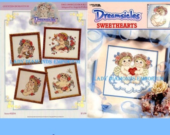 Two Vintage DREAMSICLES Cross Stitch Books, Book 1 & Sweethearts, Cherubs Angels Just Cross Stitch, Cross Stitch Patterns, Angela Pullen