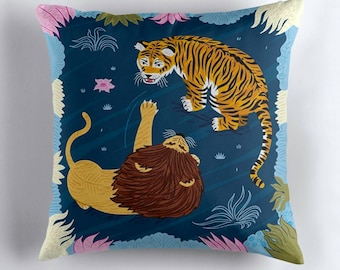 Rumble In The Jungle - Lion / Tiger - throw pillow cover / cushion cover including insert by Oliver Lake iOTA iLLUSTRATION