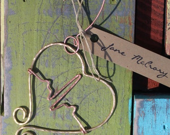 Nurses Heartbeat Ornament hammered in Copper and brass