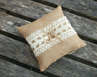 Burlap/Hessian Ring Bearer Pillow Rustic Wedding Cushion with Cream Cotton Lace  6 X 6 inches