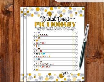 Bridal Shower Game Emoji Pictionary - Gold Dots & Diamonds - Instant Printable Digital Download - DIY Bridal Shower Printables  DD79-GD