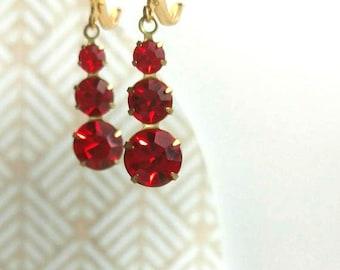 Lady Mary - 1920s Jewelry - Art Deco Earrings - Red Drop Earrings - Bridesmaid Earrings - Downton Abbey Style Jewelry - Womens Jewelry