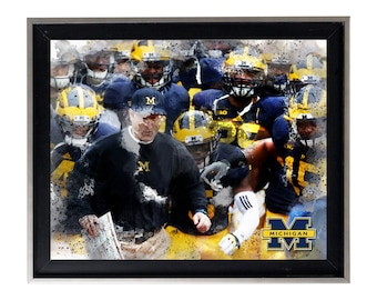 University of Michigan Wolverines Art Print Matte Print Poster 20 X 16 Splatter