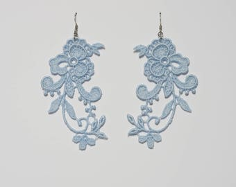 Pale sky floral earrings, Chandelier earrings, Dangle lace earrings, Wedding earrings, blue lace earrings, Lace gift for her