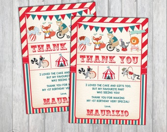Carnival Birthday Thank You Card. Vintage Circus Party Thank You Note. Printable First Birthday. Woodland Animals. Retro Big Top. CAR1