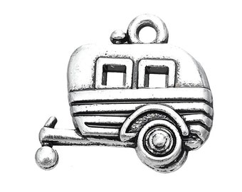 4 Camper Charms, Antique Silver Tone (1K-139)