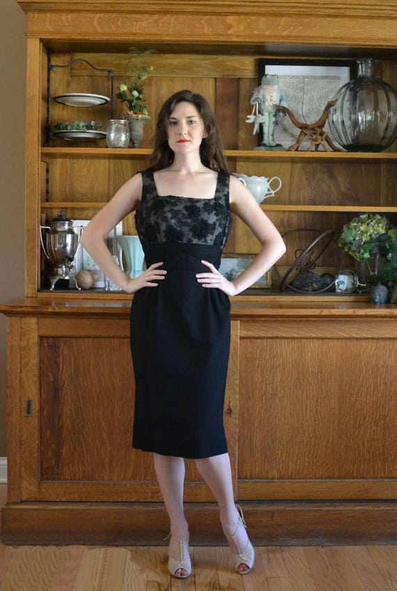 On The Town Dress | vintage 50's black lace rose wiggle dress
