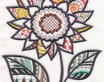Embroidered Fun in the Sunflower (Blackwork) Kitchen Tea Towels