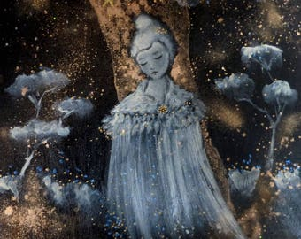 Woman portrait in a night sky background and cloud trees. Poetic art.
