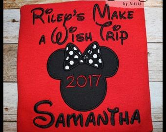 Family Disney Shirts ~ Make a Wish Shirts....Red Short Sleeve Shirts... Minnie or Mickey