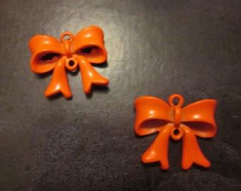 2 connectors bow / metal charm painted orange 19 * 17mm