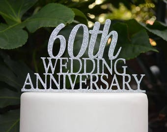 60th Wedding Anniversary Cake Topper - Assorted Colours