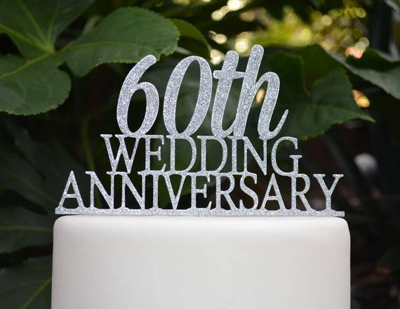 60th Wedding Anniversary Cake Topper Assorted Colours