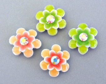 4 floral two hole slider beads with AB crystal, 2 green and 2 peach flower spacers, 16mm enameled pastel colors, two tone