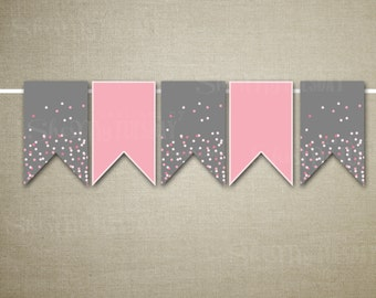 Pink and Grey Banner Flags - Baby Shower Printable Banner - Polka Dot Banner - Printable Bunting Flag - Baby Shower Decor - Instant Download