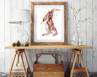 Limited edition print  'Lola' hare Illustration, Art Print, Rabbit wall art, Hare painting, watercolour home decor watercolour Hare giclee