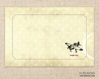 Vintage Airplane Thank You Card by FLIPAWOO - Instant Download Printable PDF File