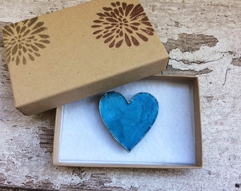 Blue Heart Magnet in Embossed Gift Box. Made from Wood and Hand-Painted in Baby Blue Pink and Silver with Ceramic Magnet.