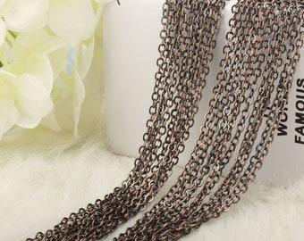12 PCS Antiqued Copper Chain ,Finished Bronze Necklace Chain,Flat Cross Chain for Jewelry Making
