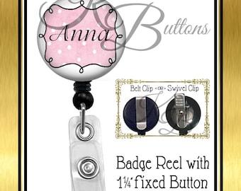 Custom Badge Reel, Personalized Reel, Pink & White Badge Reel, Name Badge Reel, Retractable Badge Reel, Secretary Gift, Coworker Gift BRN014