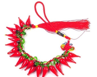20% OFF 20 glass red hot chili peppers handmade  6760K