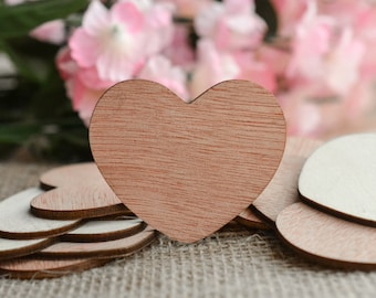 "Wooden Hearts 2"" - Rustic Wedding Table Confetti - Wooden Hearts - Wedding Invitations"