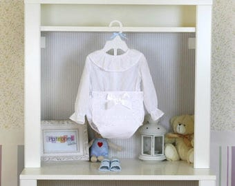 NEWBORN Baby Boy or Girl Ruffle collar blouse Shirt  PDF Sewing PATTERN + Youtube Tutorial **size 1 to 36 months** Spanish Design **