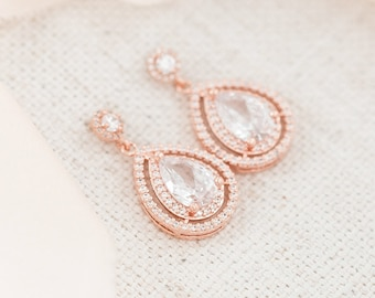 Bridal Earrings Rose Gold, Crystal Wedding Earrings Rose Gold, Teardrop Earrings, Wedding Jewellery