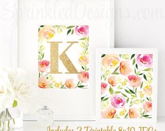 Floral Nursery Decor, Nursery Letter K, Baby Girl Nursery Decor, Printable Girl Nursery Initial Wall Art, Floral Home Decor, Floral Birthday