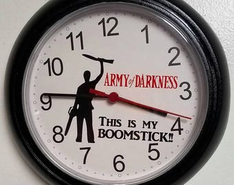 """Clock with Bruce Campbell vs Army of Darkness Ash Williams Evil Dead """"This is my Boomstick"""" Sam Raimi Universal Pictures"""