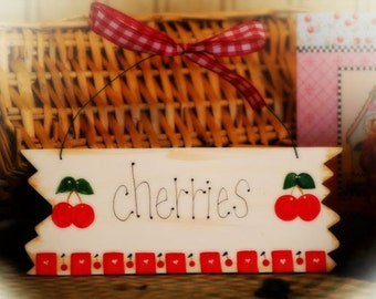 Cherry Kitchen Decor CHERRIES Whimsical sign country wall decor