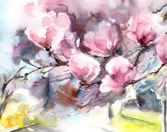 Magnolia blooming branch fine art print, pink flowers watercolor painting art, magnolia blossoms modern abstract realism wall art print