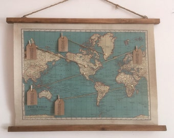 World map canvas etsy vintage world map canvas wedding seating plan with pre attached cord for hanging gumiabroncs Choice Image