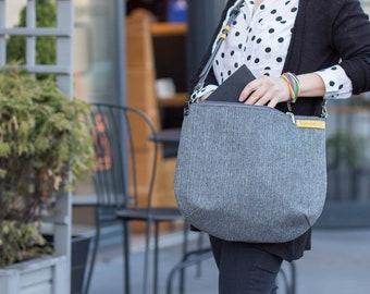 gray crossbody bag, zipper shoulder bag, big messenger bag, canvas bag,  gray leather, gray big bag, macbook bag, laptop bag, travel bag