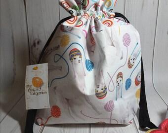 Alpaca Drawstring Project Bag- Medium- Knitting- Crochet- Needlearts- Crafting- Artist