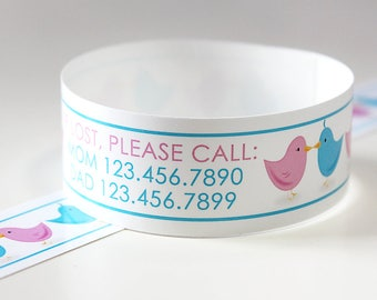 Custom Vinyl Love Birds ID Bracelets - Personalized ID Bands - #Kids #Travel #Safety #Medical