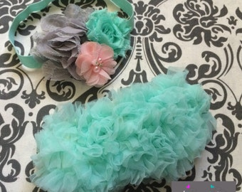MINT BABY BLOOMER set, vintage inspired baby headband and chiffon ruffle diaper cover, mint, gray and pink baby set, aqua blue.