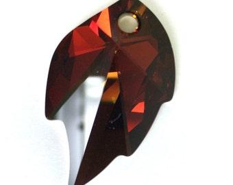 Large Swarovski leaf pendant, Swarovski Cathedral leaf pendant 32x20mm Crystal Cathedral Leaf Pendant Art#8805