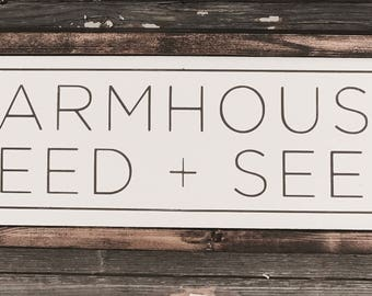 "Farmhouse feed + seed | handmade wood sign | 22"" x 7"" 