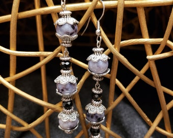 Black, gray, silver dangles with onyx